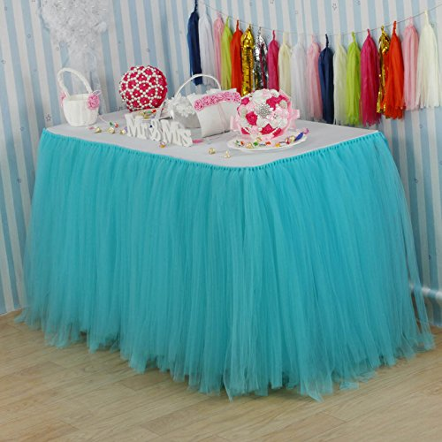 Vlovelife Turquoise Blue Tulle Table Skirt Tutu Tableware TableCloth Party Baby Shower Birthday Wedding Decorations Favor 100cm X 80cm Customized Size Available