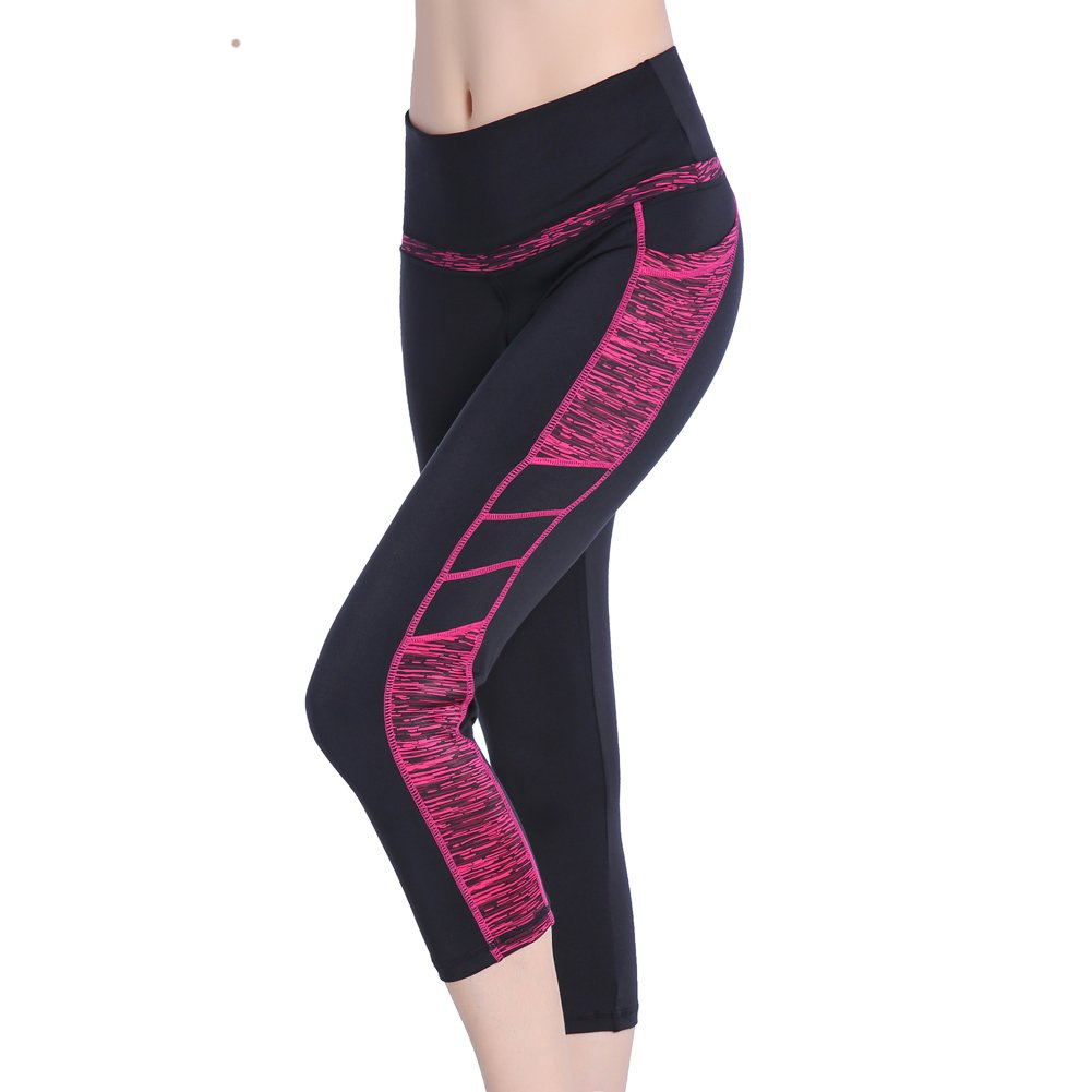 3 4 LeggingsBlack pink Se Yo Women's Leggings High Waist Yoga Pants Pocket Running Workout Tights No See Through Capri Leggings Long Length