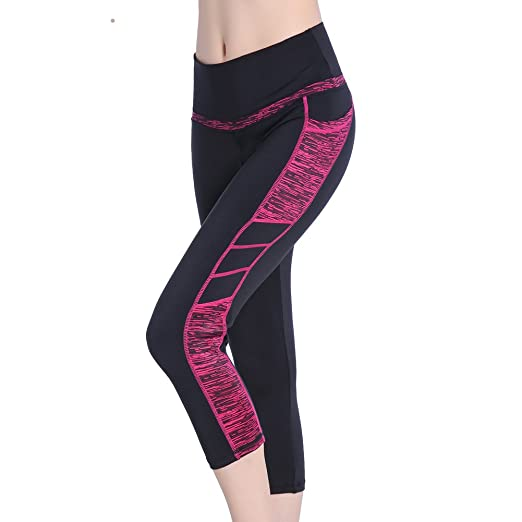 Se Yo Womens Leggings High Waist Yoga Pants Pocket Running Workout Tights No See Through Capri