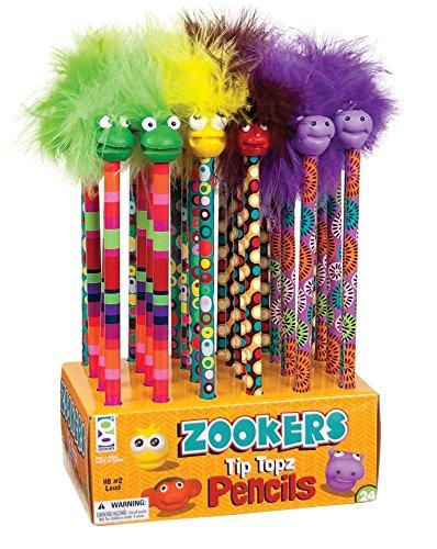 Raymond Geddes Zooker Wacky Tip Topz Pencil, 24 Pack (69842) from Raymond Geddes