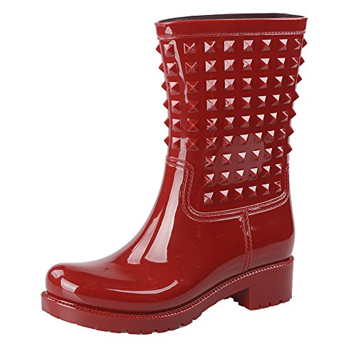 Getmorebeauty Women Mid Calf Red Rivet Spike Jelly Snow Rain Boot 5 B(M) US