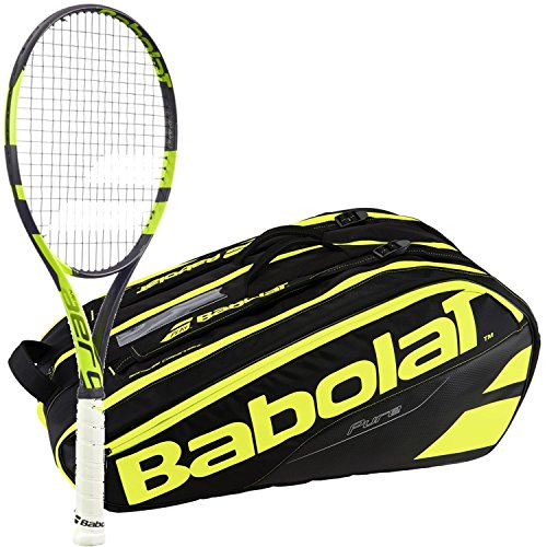 Babolat Pure Aero Team Yellow/Black Adult Tennis Racquet (Grip Size 4 1/4) with a Yellow/Black Pure Line Racket Holder x12 ()