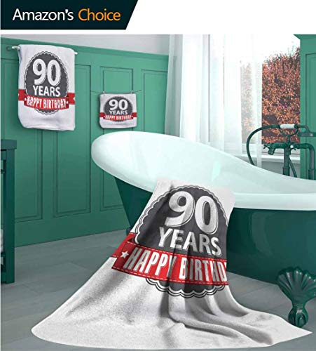 90th Birthday 3 Piece Kitchen & Bathroom Turkish Towel Set, Retro Style Label with Red Ribbon and Vintage Emblem Stars Classical, 1 Bath Towels, 1 Hand Towels and 1 Washcloths ()