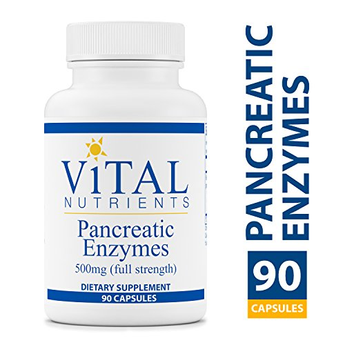 Vital Nutrients - Pancreatic Enzymes 500 mg Supplement (Full Strength) - Supports Healthy Digestion of Proteins, Fats, and Carbohydrates - Suitable for Men and Women - 90 Capsules per Bottle