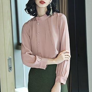 XXIN Borde de puntilla color sólido Mock-Neck Long-Sleeved camisas blusas camisas de