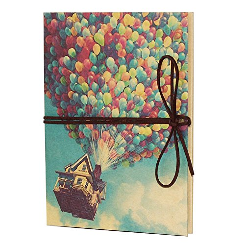 Pixar Up Merchandise (T-HAOHUA Hand Made Hardcover Kraft Paper Folding Photo Album,Pixar Up Movie Theme DIY Photo Album,Anniversary Scrapbook,Wedding Photo)
