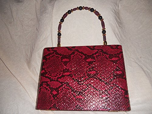 Cigarbox Purse, Snakeskin Embossed Red/Black Print Leather, Tina Marie Purse, Vintage Cigar Box