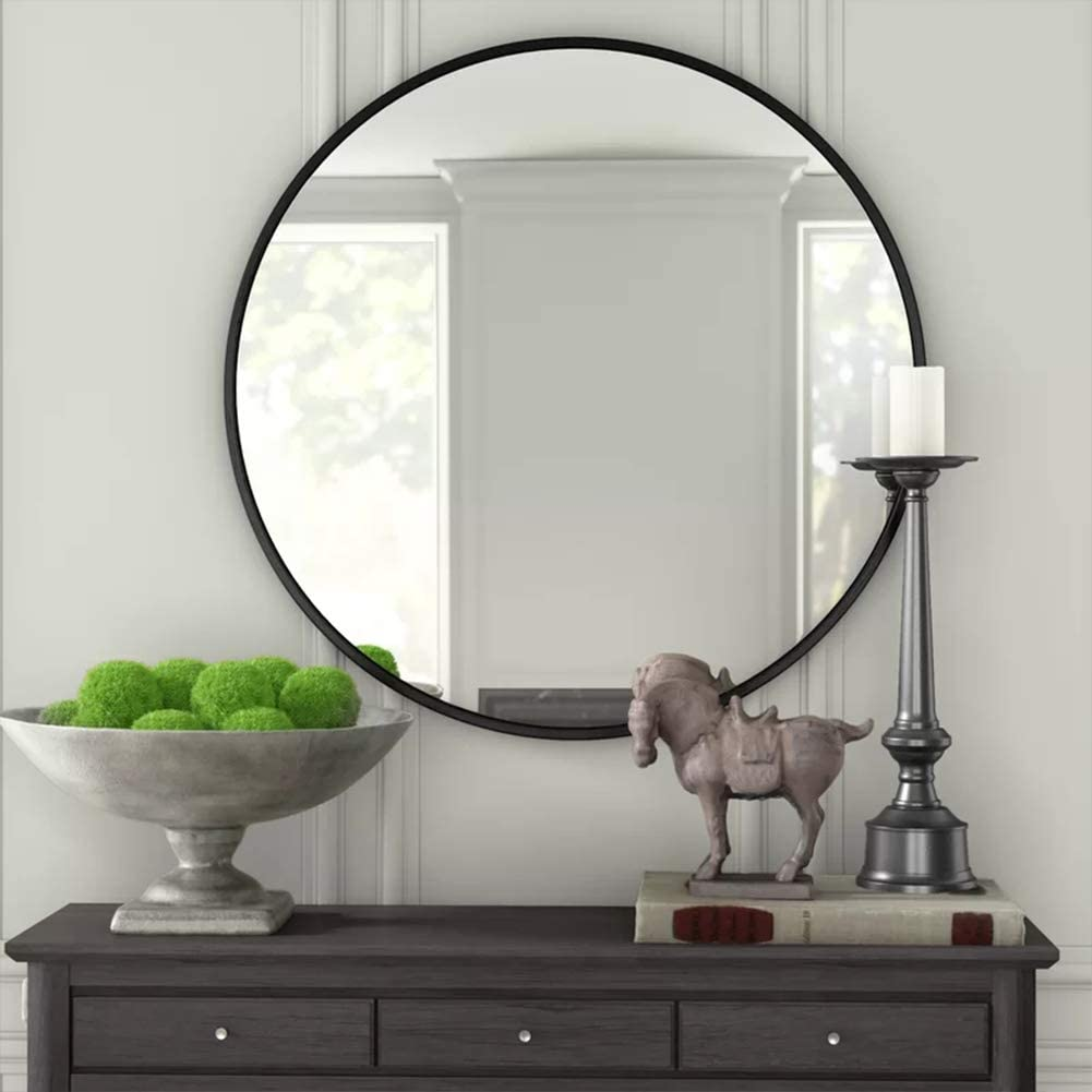 IPOUF Round Mirror,Wall Mirror with Metal Frame ,24 Inch for Vanity Washrooms Bathroom Entryway Living Room,Black