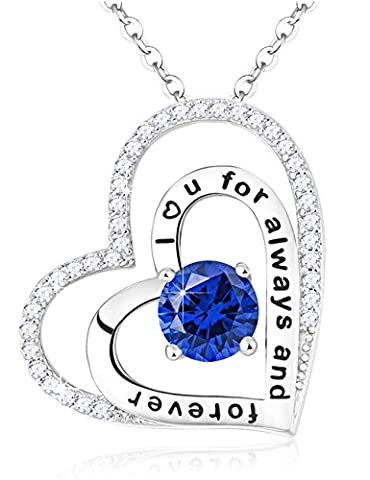 Blue Sapphire Swarovski Gems Birthstone Necklace Double Love Hearts Jewelry Anniversary Birthday Christmas Gifts for Lady for Her Sterling Silver Engraved with