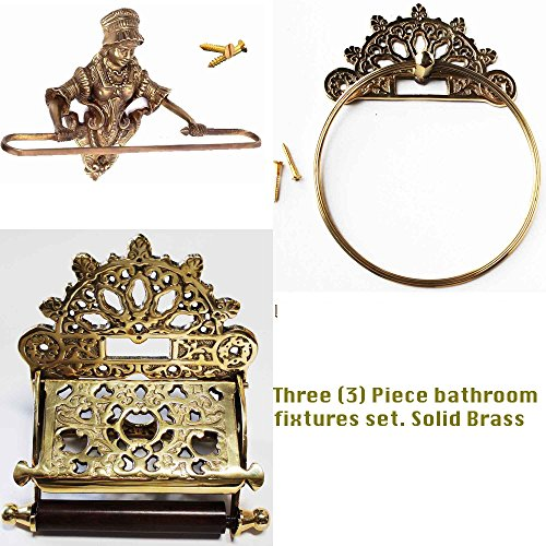 (Victorian Solid Brass 3Pcs Bathroom Towel Toilet Tissue Paper Holder Rack 6731)