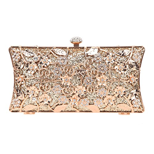 Fawziya Floral Evening Bag Small Glitter Clutch Purses For Women Party Clutches-Gold