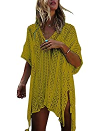 e45290ae491 Women's Bathing Suit Cover up Beach Bikini Swimsuit Swimwear Crochet Dress