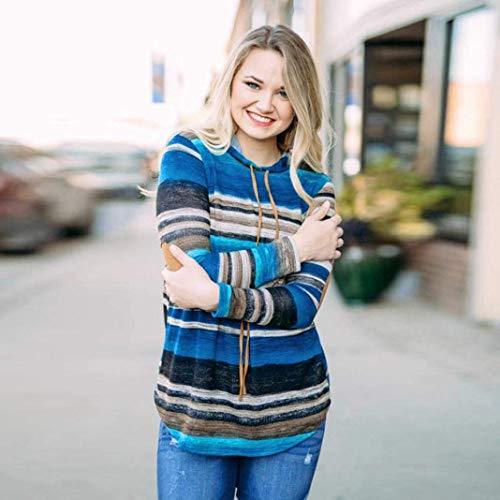 Casual Sweat Pullover femmes large coloré avec chemisier Womens capuchon serrage Xx à à Top Taille Couleur cordon de Bleu pour Zhrui rayures xZ61aw