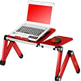 vented laptop tray - Desk York Portable Table For Computer - Adjustable Light Stand For Laptop - Ergonomic TV Bed Lap Tray - Vented w/CPU Fans - Mouse Pad and Usb Cord -Up To 17