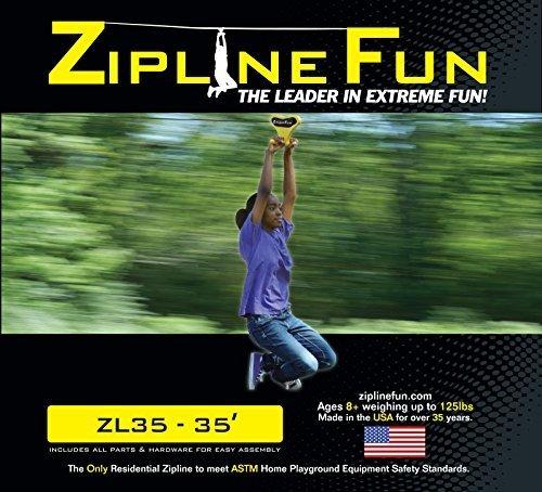 Adventure Parks Zip Line Fun ZL35 Zip Line Ride On, 35', Yellow -
