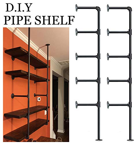 Industrial Retro Wall Mount iron Pipe Shelf,DIY Open Bookshelf,Hung Bracket,Home Improvement Kitchen Shelves,Tool Utility Shelves, Office shelves, bookshelves and bookcases (2Pcs) ()