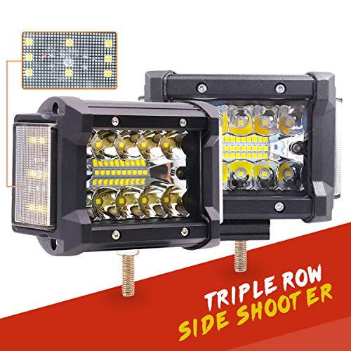 HCTX LED Pods, 2pcs 4 inch 120W Side Shooter LED Pods Triple Row Light Bar Off Road LED Cube Spot Flood Combo Beam Fog Driving Work Light for Trucks ATV UTV Jeep Mortorcycle Boat, 2 Year Warranty