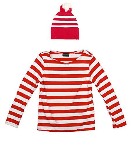 Armycrew Red White Striped Pom Pom Cuff Beanie Hat (Beanie & Men Shirt L/XL)]()