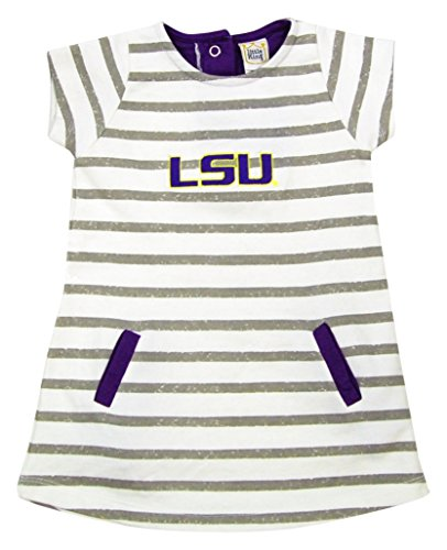 NCAA LSU Tigers Striped Dress with Team Color Trim, 4T, (Purple Striped Team Colors)