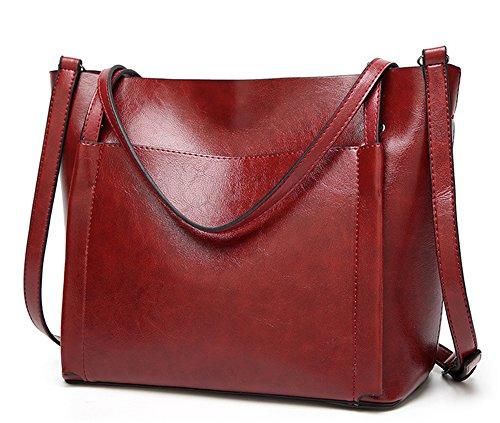 Bolsos de señora Xinmaoyuan señoras bolso de mano Bolso Messenger Salvaje Big Bag,vino rojo Vino rojo