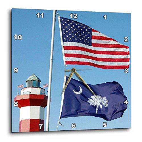 3dRose DPP_94267_1 Harbor Town Lighthouse, Hilton Head, South Carolinla-US41 LSE0025-Lynn Seldon-Wall Clock, 10 by 10-Inch