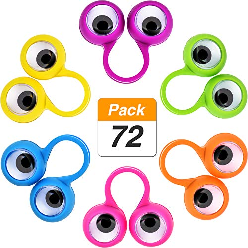Jovitec 72 Pieces Eyes Finger Puppet Eyeballs Ring Toy Googly Eyeball Ring for Kids Party Toy, 6 Colors by Jovitec