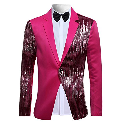(Cloudstyle Mens 2-Piece Suit Casual One Button Slim Fit Blazer Stylish Sport Coat and Trousers Rosy Medium)