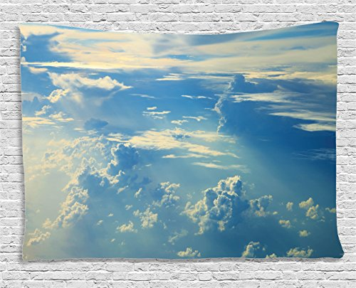 Air Decor Tapestry by Ambesonne, Sunrise Foggy Morning Scenery View of Sky And Clouds from Airplane Picture, Wall Hanging for Bedroom Living Room Dorm, 80 X 60 Inches, Navy Babay Blue and Cream