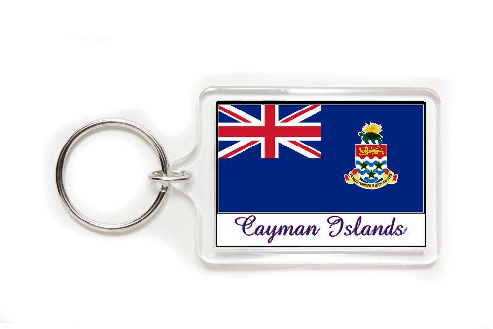 Souvenir Cayman Islands Flag Double Sided Acrylic Key Ring Large