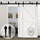 KIRIN Bypass 12 FT Sliding Barn Door Hardware Double Doors Hanger Rolling Track Kit (Heart Shape)