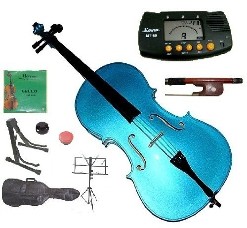 Merano 1/2 Size Blue Student Cello with Bag and Bow+2 Sets of Strings+Cello Stand+Black Music Stand+Metro Tuner+Rosin+Rubber Mute by Merano