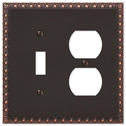 mbination Egg & Dart Light Switch Plate Outlet Wall Plate Cover, Oil Rubbed Bronze (Combo Duplex Outlet Double Toggle)
