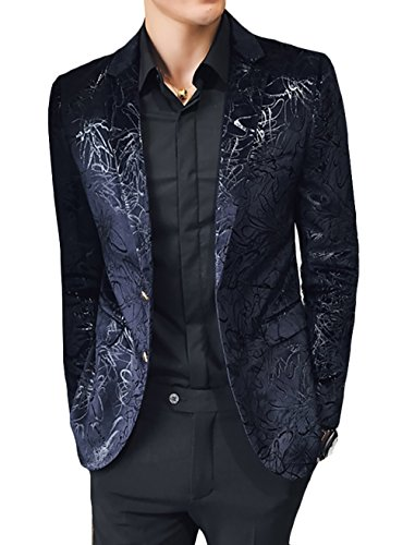 WULFUL Men's Luxury Casual Dress Floral Suit Notched Lapel Slim Fit Stylish Blazer Jacket Party Coats Black