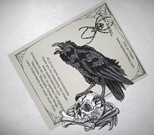 Raven Crow Black Bird on a Skull Iron on Patch Sew on Nevermore Applique