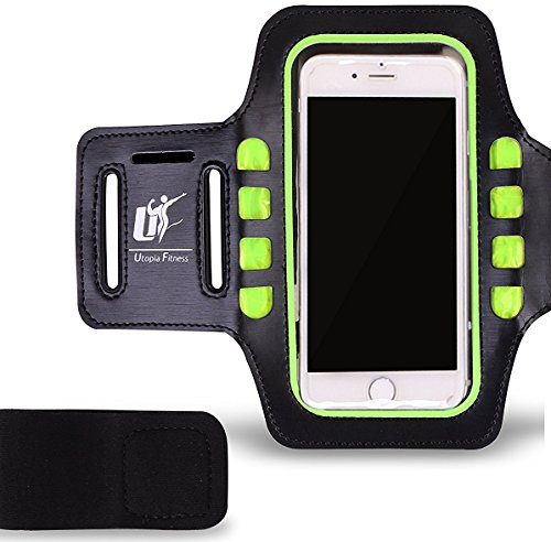 Running Mobile Carrier – Perfect Mobile Holder While Jogging – Fitness and Gym – Sweat proof Sports Case – Ideal for iPhone 6, 6S, Samsung S5, S6, S6 Edge, S7, HTC One and HTC 526 – by Utopia Fitness