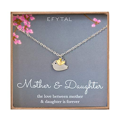 EFYTAL Mother Daughter Necklace - Mommy and Baby Bird, Two Tone Mothers Day Jewelry Gift ()
