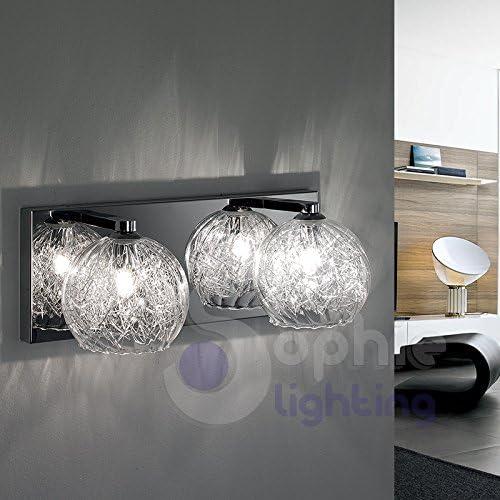 Aplique 2 luces moderno lámpara pared pared diseño cristal soplado acero cromado escalera baño Dra AP2 Sophie Lighting: Amazon.es: Iluminación