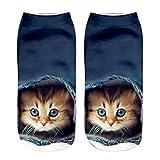 Clearance! Short Socks, Novelty 3D Cat Printed Funny Unisex Anklet Socks Casual Sock (D)