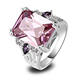 Empsoul Womens 925 Sterling Silver Natural Stunning Plated 6.5ct Pink Topaz Wedding Ring