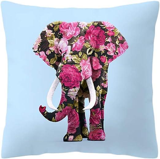 Fablcrew Funda para cojín Algodón Fundas para Cojines Sofá Coche cojín Home Bed Decor, Modelo de Elefante Coloreado Size 45 * 45 cm: Amazon.es: Hogar