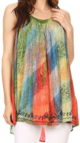Trim Tank Sequin (Sakkas 86657 Amalia Picot Trim Scoop Neck Tank With Sequins and Embroidery - Green/Blue/Orange - OS)