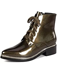 Patent Leather Women's Pointed Toe Chunky Heel Zip Handmade Glossy Sheen Ankle Boots