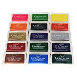 Miraclekoo Craft Ink Pad Stamps Partner Set of 15 DIY Assorted Color