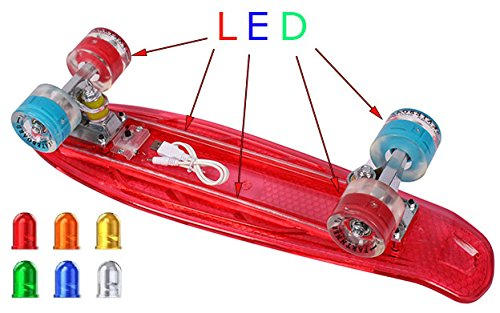 Mini-Board / Cruiser / Retro Skateboard mit LED Beleuchtung Abec 7 rot