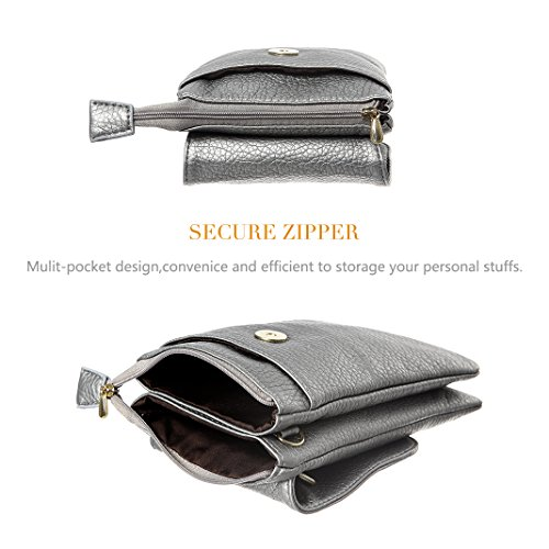 Silver Women Wallet For Crossbody Bag Minicat Phone Pockets Purse Small Dark Cell Roomy Series wqwPAfO