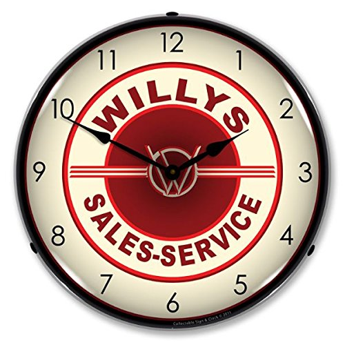 The Finest Website Inc. Willys Sales and Service Retro Vintage Style Advertising Backlit Lighted Clock - Ships Free Next Business Day to Lower 48 States