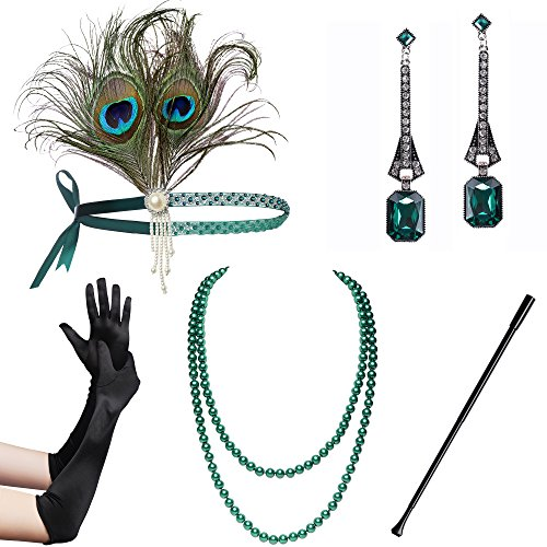 BABEYOND 1920s Flapper Gatsby Costume Accessories Set 20s Flapper Headband Pearl Necklace Gloves Cigarette Holder (Set-30) - Headpiece Halloween Costumes Accessories