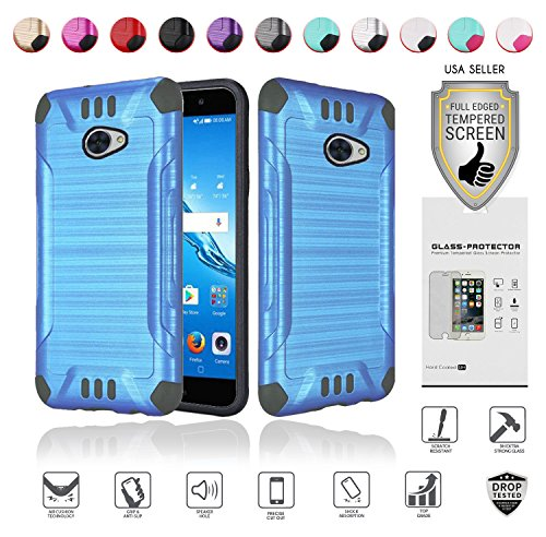 for Huawei Ascend XT2 Case with Full Glass Screen Protector (2nd Version Only), Elate 4G Case, H1711 Case, Metallic Brushed Design Slim Hybrid [Shockproof] Armor Defender Case Cover (Blue)