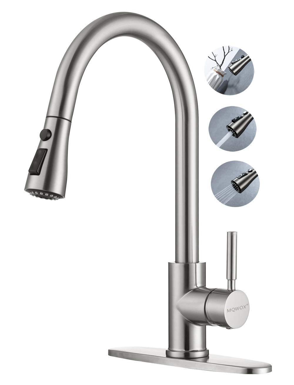 MQWOX Pull out Kitchen faucet brushed nickel High Arc Single handle, Single Level Stainless Steel Kitchen Sink Faucets with Pull Down Sprayer and Deck Plate