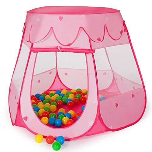 Kinderspielzelt Spielzelt Pop Up Spielhaus Kinderzelt mit Bällebad 100 Bälle + Tasche für drinnen und draußen (Pink)